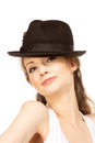 Pretty woman in hat with bird s feather isolated Stock Image