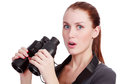 Pretty woman holding binoculars Royalty Free Stock Photo