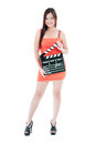 Pretty Woman Holding Clapper Board Royalty Free Stock Photos