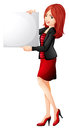 A pretty woman holding an empty board lllustration of on white background Stock Photo