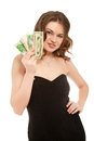 Pretty woman holding fan made of money Stock Photo