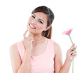 Pretty woman holding pink flower portrait of a cute asian daisy over white background Stock Images