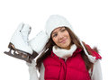 Pretty woman with ice skates winter sport activity in white cap smiling getting ready for skating isolated on a Royalty Free Stock Photos