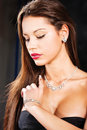 Pretty woman with jewelry Stock Photo