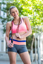 A pretty woman with jumping rope Royalty Free Stock Photo