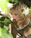 Pretty Woman in Nature Royalty Free Stock Photos