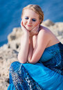 Pretty woman near the sea Stock Image