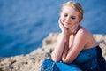 Pretty woman near the sea Royalty Free Stock Photography