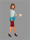 Pretty woman office work standing cup coffee folder Royalty Free Stock Photo