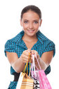 Pretty woman passes bags for shopping Stock Photography