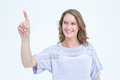 Pretty woman pointing with her finger Royalty Free Stock Photo