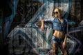 Pretty Woman Posing in Trendy Denim Fashion