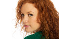 Pretty woman with red hair and freckles Royalty Free Stock Image