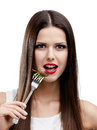 Pretty woman red lipstick eating roast meat isolated white greasy food leads to obesity Royalty Free Stock Image