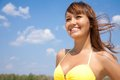Pretty woman on resort Royalty Free Stock Image