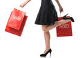 Pretty woman and  sale, detail photo, female legs with sale bags Stock Photos