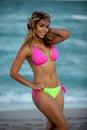 Pretty woman in sexy colorful bikini Royalty Free Stock Photo