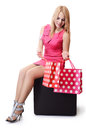 Pretty woman with shopping bags isolated on white Royalty Free Stock Photography