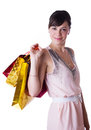 Pretty woman with shopping bags isolated on white Stock Photos