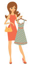 Pretty woman shopping for dress Royalty Free Stock Photos