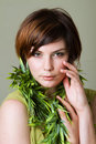 Pretty woman with short hair Royalty Free Stock Photography