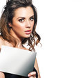 Pretty woman with small empty adverb board Royalty Free Stock Photo