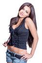 Pretty woman smiling young in black corset on white background Stock Photography