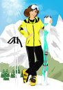 Pretty woman standing with mountain skis portrait of on background of snowy mountains in ski resort Royalty Free Stock Image