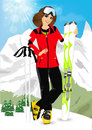 Pretty woman standing with mountain skis portrait of wearing ski suit on background of snowy mountains in ski resort Stock Photo