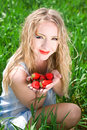 Pretty woman with strawberry Royalty Free Stock Photo