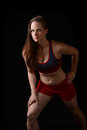 Pretty woman stretching beautiful before aerobics workout Stock Photos