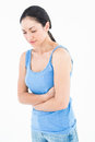 Pretty woman suffering from stomach pain Royalty Free Stock Photo