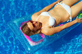 Pretty woman is sunbathing. Royalty Free Stock Photo
