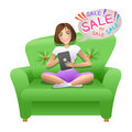 Pretty woman surfing in internet with her tablet and doing shopping online Royalty Free Stock Photo