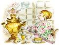 Pretty woman at tea table with samovar