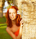 Pretty Woman In Tropical Nature
