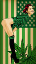 Pretty woman with usa flag green colored. Naked legs. Vector image. Usa flag green colors with marijuana leafs. Royalty Free Stock Photo