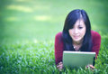 Pretty woman using tablet
