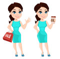 Pretty woman in vibrant dress, holding coffee and holding paper bag for sale. Royalty Free Stock Photo