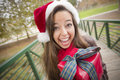Pretty Woman Wearing a Santa Hat with Wrapped Gift Stock Image