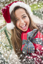 Pretty woman wearing a santa hat with wrapped gift festive smiling christmas bow outside snow flakes border Stock Images