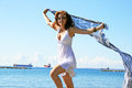 Pretty woman in white dress on beach in limassol cyprus Royalty Free Stock Photos