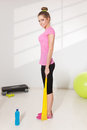 Pretty woman workout with elastic band Royalty Free Stock Photo