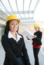 Pretty Women Architects on Construction Site Royalty Free Stock Photos