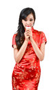 Pretty women with Chinese traditional dress Cheongsam and drinki Stock Image