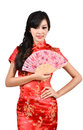 Pretty women with Chinese traditional dress Cheongsam and hole C Royalty Free Stock Photography
