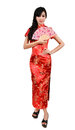 Pretty women with Chinese traditional dress Cheongsam and hole C Royalty Free Stock Photo