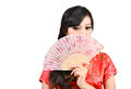 Pretty women with Chinese traditional dress Cheongsam and hole C Stock Image
