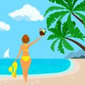 Pretty women in swimsuit with hat, coconut hawaii cocktail at the tropical beach background with palm trees, sea