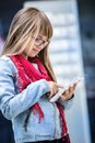 Pretty youn girl with tablet young working the Royalty Free Stock Photo